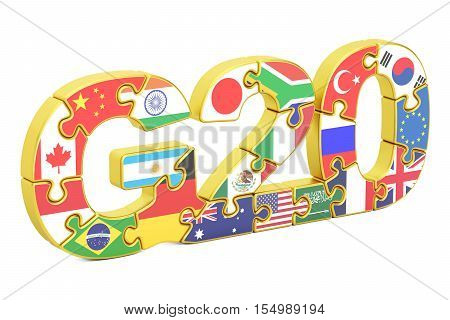 G20 from puzzles concept 3D rendering isolated on white background