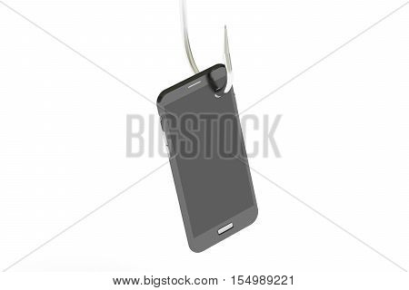 phishing concept with smartphone 3D rendering isolated on white background