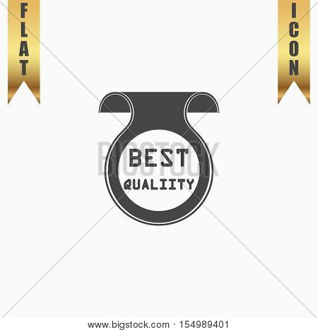 Best Quality Badge, Label or Sticker. Flat Icon. Vector illustration grey symbol on white background with gold ribbon