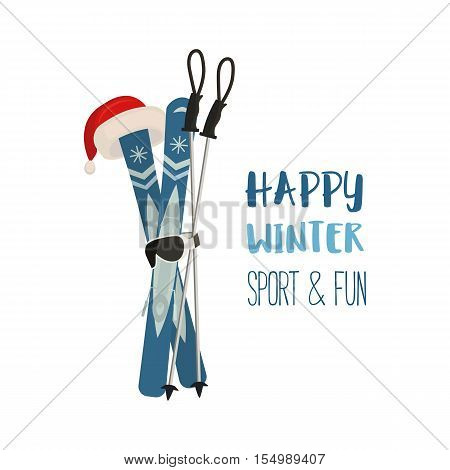 Mountain ski pole Santa Claus hat icon. Vector cartoon winter symbol isolated. Season greeting card with happy skiing sport and fun. Design idea for advertisement of active lifestyle banner background