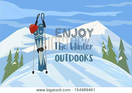 Cartoon mountain ski hat mask on snowy hill. Enjoy winter outdoors sport banner background. Design idea for advertisement of active lifestyle. Glacier valley landscape. Vector Illustration.