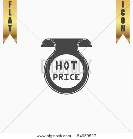 Hot price sticker, Badge, Label. Flat Icon. Vector illustration grey symbol on white background with gold ribbon