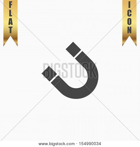 Magnet. Flat Icon. Vector illustration grey symbol on white background with gold ribbon