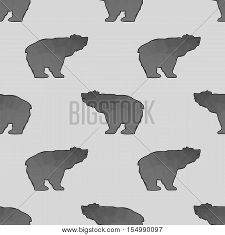 Bear Polygonal Seamless Pattern. Animal Silhouette Background