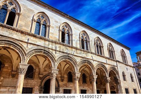 Rector's Palace And Blue Sky. Old Architecture In Dubrovnik