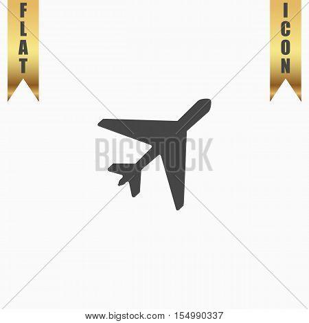 Plane. Flat Icon. Vector illustration grey symbol on white background with gold ribbon