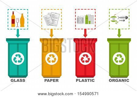 Vector illustration of separation recycle bins. Ecology and recycle concept