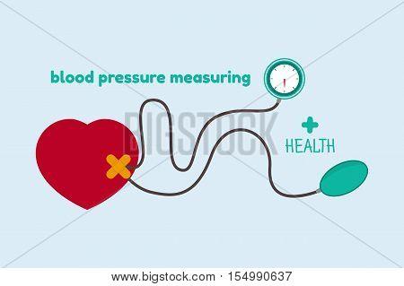 Blood pressure measuring concept on a blue background. Vector illustration