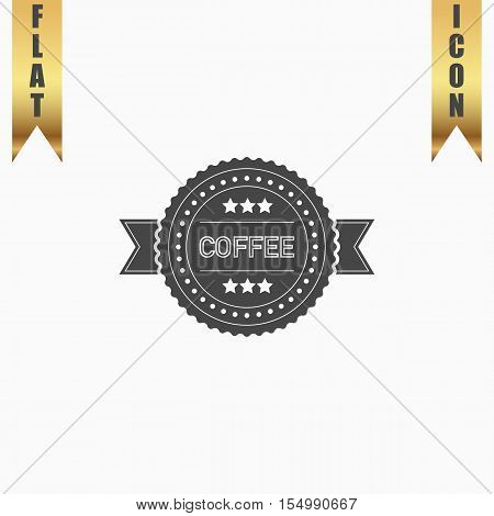 Coffee label. Flat Icon. Vector illustration grey symbol on white background with gold ribbon