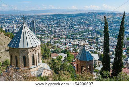 Touristic landmark in Tbilisi Georgia. Mama Daviti church at Mtatsminda