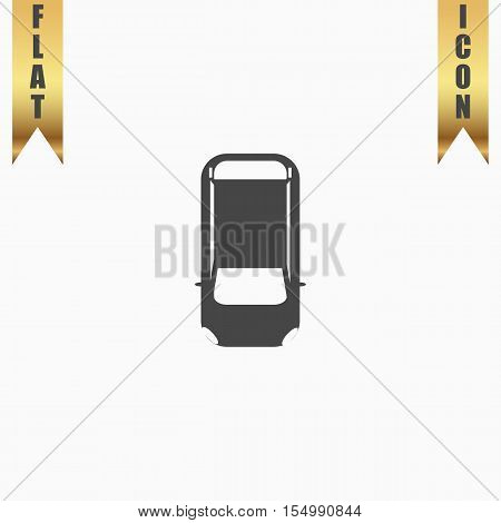 Simple car - top view. Flat Icon. Vector illustration grey symbol on white background with gold ribbon