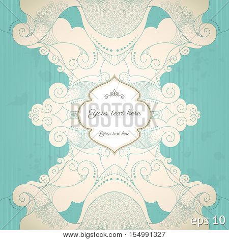 Vector vintage background. Filigree frame and grungy strips paper. Place for your text. Easy to change colors