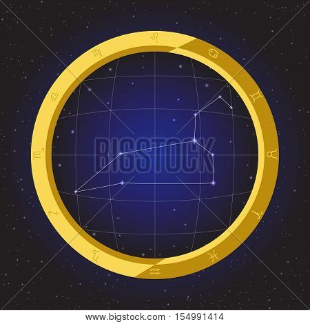 leo star horoscope zodiac in fish eye telescope golden ring frame with cosmos background