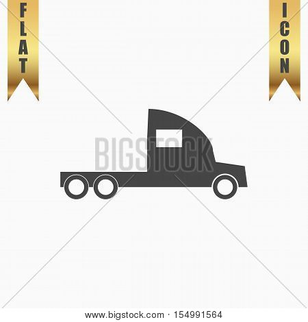 Truck without a trailer. Flat Icon. Vector illustration grey symbol on white background with gold ribbon