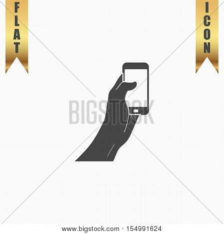 Mobile phone in hand. Flat Icon. Vector illustration grey symbol on white background with gold ribbon