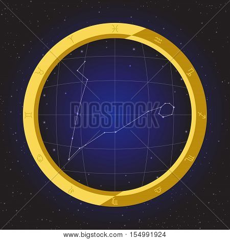 pisces star horoscope zodiac in fish eye telescope golden ring frame with cosmos background