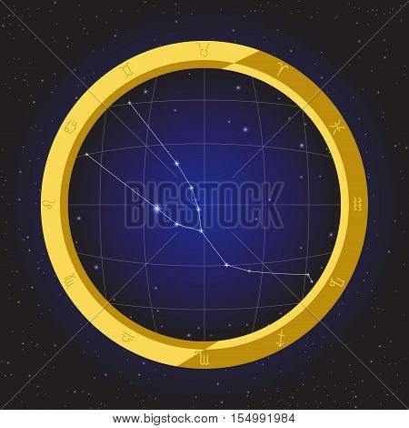 taurus star horoscope zodiac in fish eye telescope golden ring frame with cosmos background