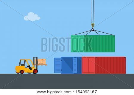 Concept marine cargo port. Unloading of sea cargo containers by a forklift. Closed containers and one outdoor. Vector illustration.