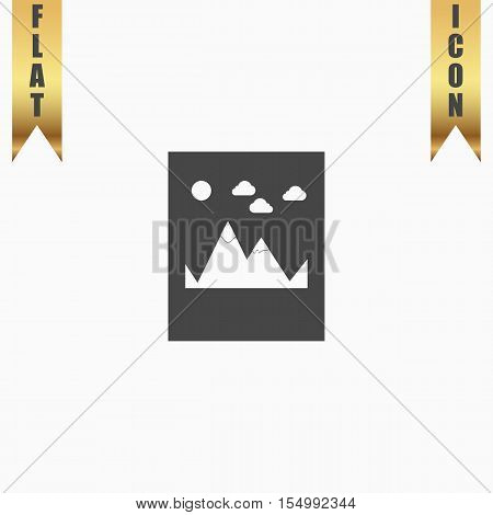 Mountain. Flat Icon. Vector illustration grey symbol on white background with gold ribbon