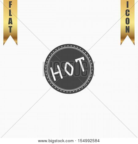 Hot Badge Label or Sticker. Flat Icon. Vector illustration grey symbol on white background with gold ribbon