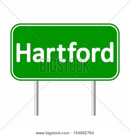Hartford green road sign isolated on white background.