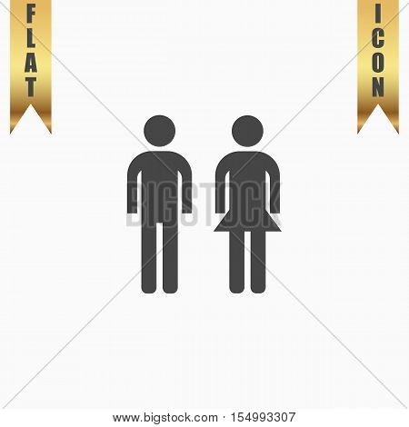 Simple man and woman. Flat Icon. Vector illustration grey symbol on white background with gold ribbon