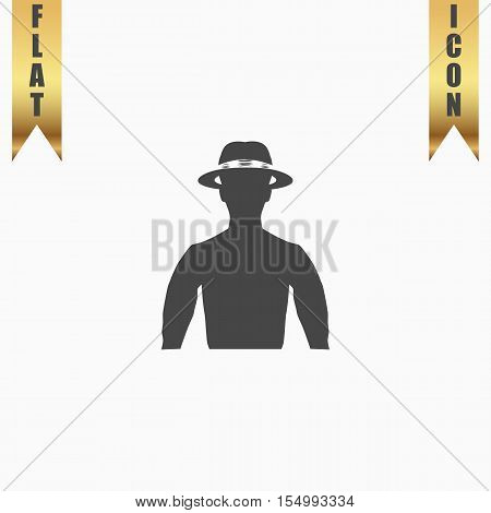 Man with broad-brim. Flat Icon. Vector illustration grey symbol on white background with gold ribbon