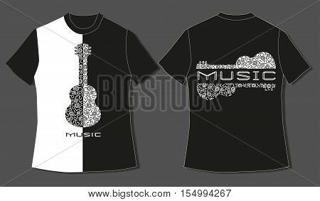 Flat identity mock-up template of T-shirt. Motivated musical quote Take a chance on me in heart frame. Design Idea for romantic young creative people, lovers, couples, hipsters. Vector Illustration.