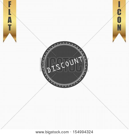 Discount Badge Label or Sticker. Flat Icon. Vector illustration grey symbol on white background with gold ribbon
