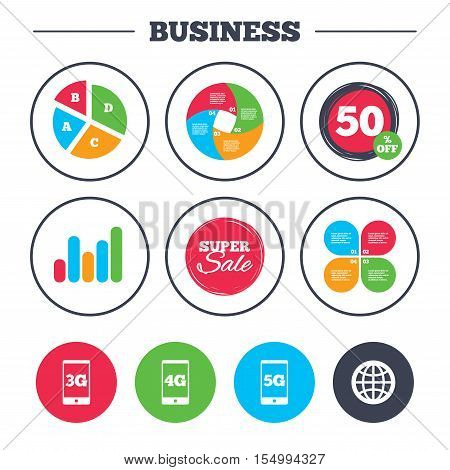 Business pie chart. Growth graph. Mobile telecommunications icons. 3G, 4G and 5G technology symbols. World globe sign. Super sale and discount buttons. Vector