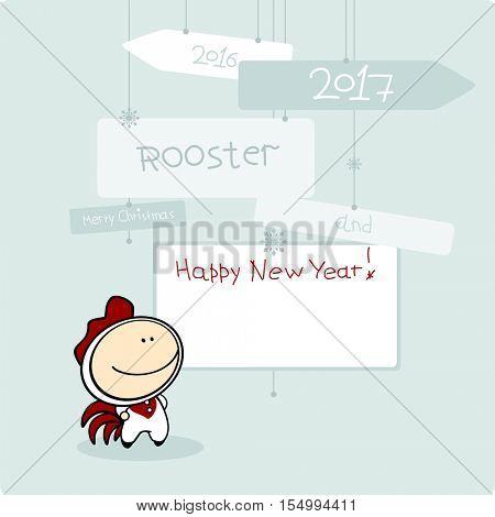 Merry Christmas and Happy New Year card with Rooster (raster version)