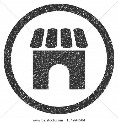 Shop Building rubber seal stamp watermark. Icon symbol inside circle frame with grunge design and corrosion texture. Scratched vector gray ink sticker on a white background.
