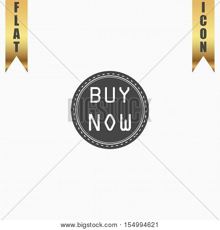 Buy Now Badge Label or Sticker. Flat Icon. Vector illustration grey symbol on white background with gold ribbon