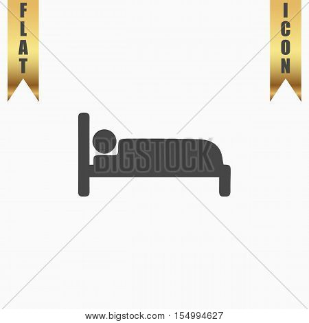 Human in bed. Flat Icon. Vector illustration grey symbol on white background with gold ribbon