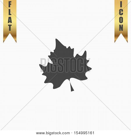 Maple Leaf. Flat Icon. Vector illustration grey symbol on white background with gold ribbon