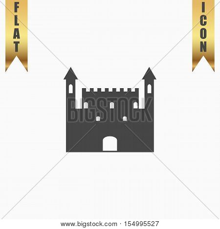 Castle. Flat Icon. Vector illustration grey symbol on white background with gold ribbon