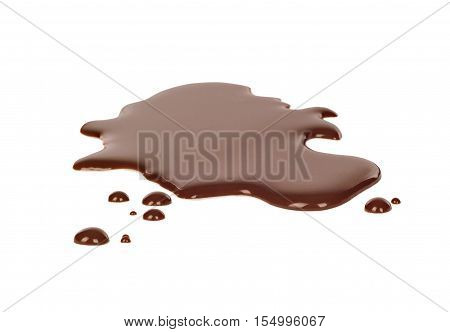 spilled dark chocolate on a white background