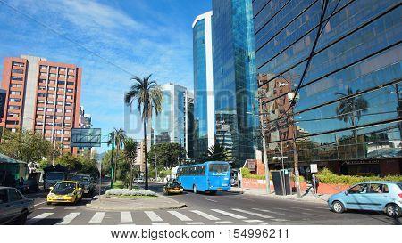 Quito, Pichincha / Ecuador - November 1 2016: Activity in 12 de Octubre Avenue in the modern area of the city of Quito