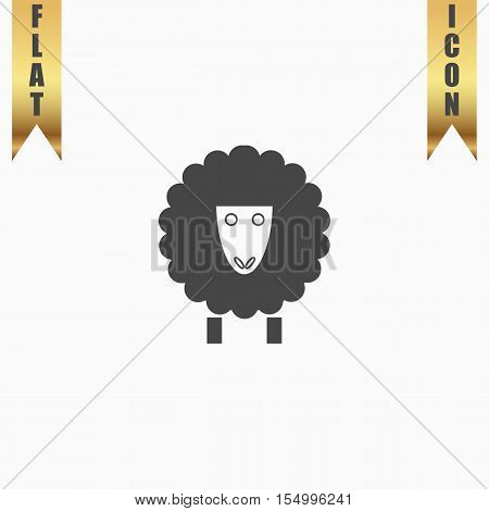 Sheep. Flat Icon. Vector illustration grey symbol on white background with gold ribbon