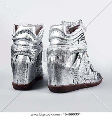 silver shoes Italian shoes women shoes fashion