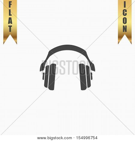 Retro headphone. Flat Icon. Vector illustration grey symbol on white background with gold ribbon