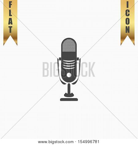 Simple retro microphone. Flat Icon. Vector illustration grey symbol on white background with gold ribbon
