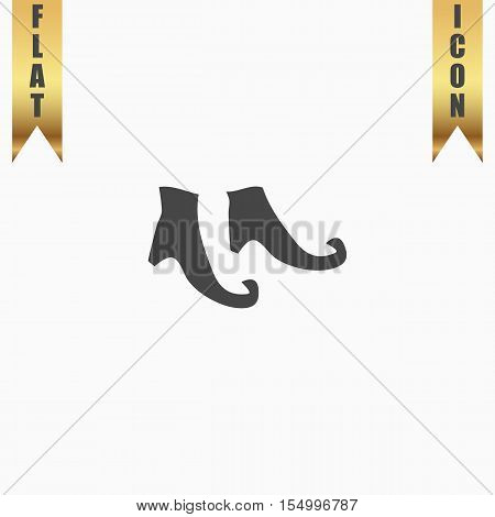Witch boots. Flat Icon. Vector illustration grey symbol on white background with gold ribbon