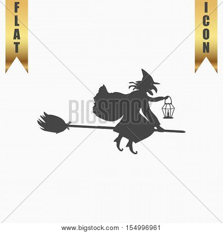 Halloween witch. Silhouette. Flat Icon. Vector illustration grey symbol on white background with gold ribbon
