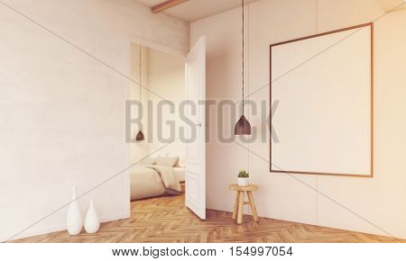Corridor With A Glimpse At Bedroom, Toned