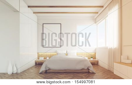 Front View Of Bedroom With Sofa And Framed Poster, Toned