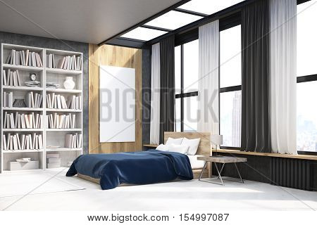 View Of Bedroom With Poster And Bookcase