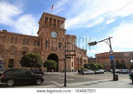 YEREVAN, ARMENIA - SEPTEMBER 30, 2016: The Government of the Republic of Armenia located on Republic Square in Yerevan, Armenia.