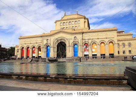 YEREVAN, ARMENIA - SEPTEMBER 30, 2016: City view with History Museum of Armenia and the fountain on Republic Square in Yerevan, Armenia.