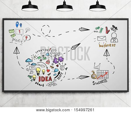 Colorful business idea sketch is drawn on whiteboard in room with concrete walls and three ceiling lamps. Concept of company foundation